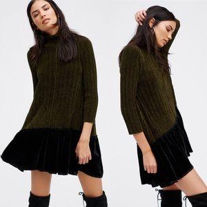 Free People Coco Flounce Sweater Dress Velvet
